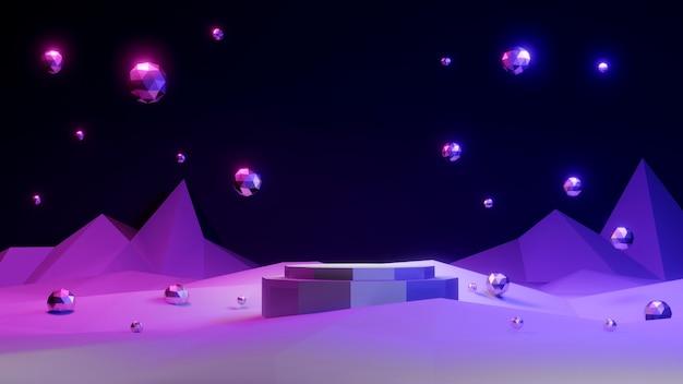 Concetto di rendering 3d della visualizzazione del prodotto podi con sfondo di elementi geometrici per la progettazione di modelli commerciali esposizione della piattaforma di rendering 3d tema luce al neon tema scuro
