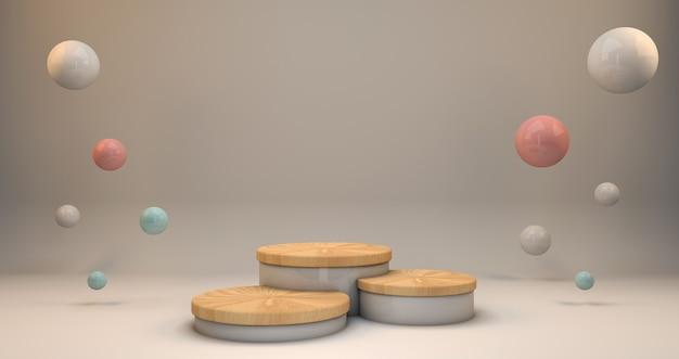 Rendering 3d sfondo cosmetico legno e colori pastello per i prodotti