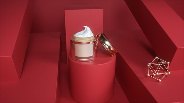 Rendering 3d di flaconi di crema cosmetica con sfondo astratto geometrico per la visualizzazione del prodotto