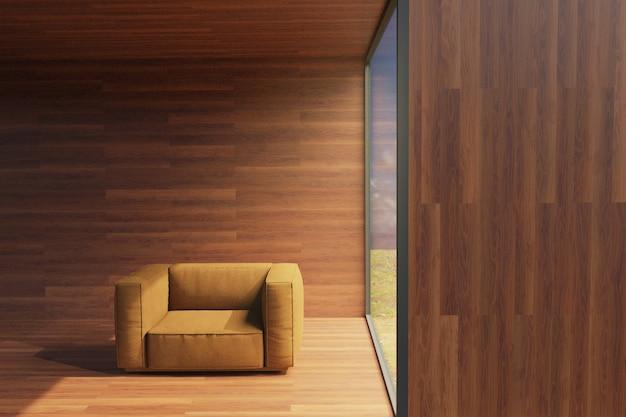 Rendering 3d della poltrona del divano nella zona soggiorno in una moderna casa con grandi finestre confortevole per il relax