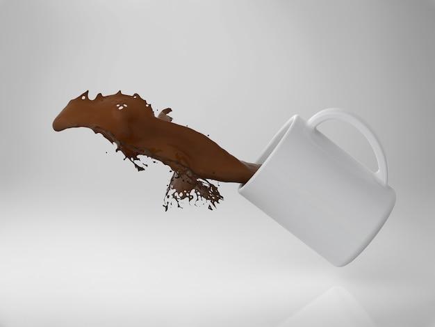 Rendering 3d di una tazza di caffè splash