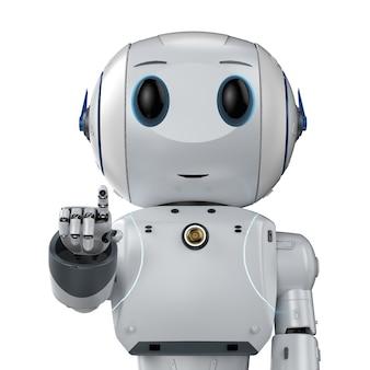 3d che rende il punto del dito del robot di intelligenza artificiale carino con il personaggio dei cartoni animati