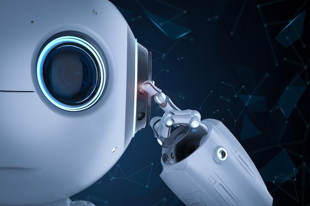 3d rendering simpatico robot di intelligenza artificiale pensa o analizza