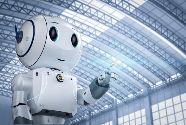 Rendering 3d simpatico robot di intelligenza artificiale con il punto del dito del personaggio dei cartoni animati