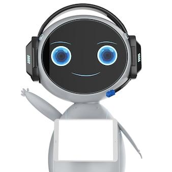 Rendering 3d simpatico robot assistente saluto con schermo tablet vuoto
