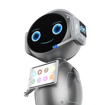 Rendering 3d simpatico robot assistente con schermo tablet