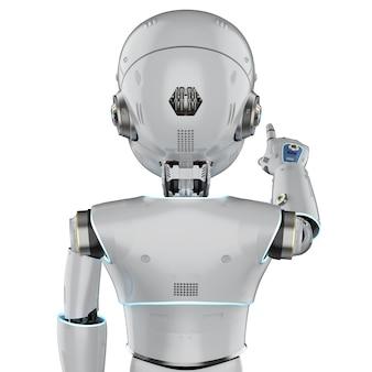 3d rendering robot carino o robot di intelligenza artificiale con il punto del dito del personaggio dei cartoni animati
