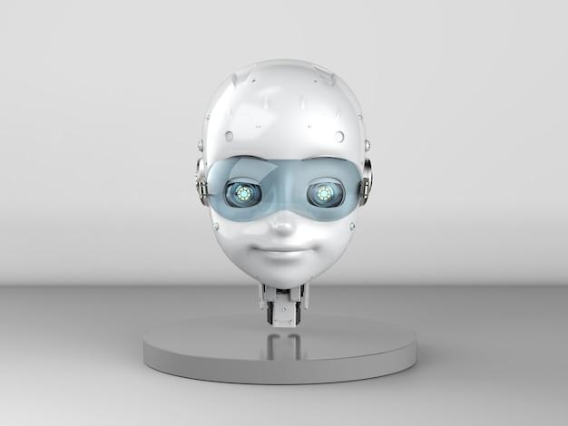 3d rendering robot carino o robot di intelligenza artificiale con personaggio dei cartoni animati su sfondo grigio