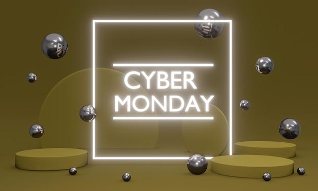 Rendering 3d vendita cyber monday con luce futuristica a led con elementi che fluttuano intorno al concetto di sfondo della pubblicità della promozione cyber monday. rendering 3d. illustrazione 3d.