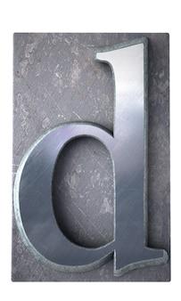 Rendering 3d di una lettera d in stampa dattiloscritta metallica