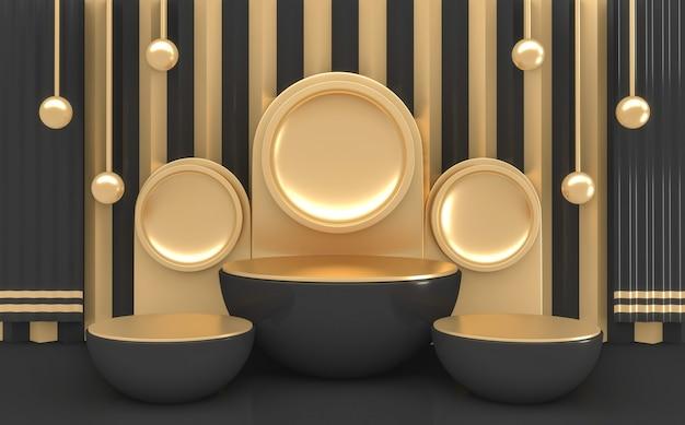 Rendering 3d cilindro scuro forma minima podio colori neri e oro