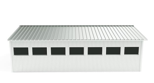 Rendering 3d di interni di fabbrica vuoti scuri o di un magazzino vuoto, uno schermo bianco luminoso nel mezzo
