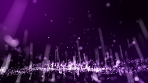 Rendering 3d. polvere rosa scuro e bagliore viola e linea sfondo astratto particella bianca.