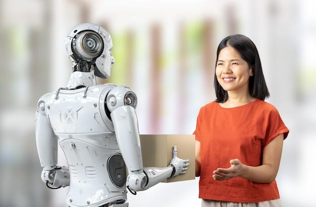 Il cyborg di consegna del rendering 3d invia una scatola di cartone a una donna asiatica