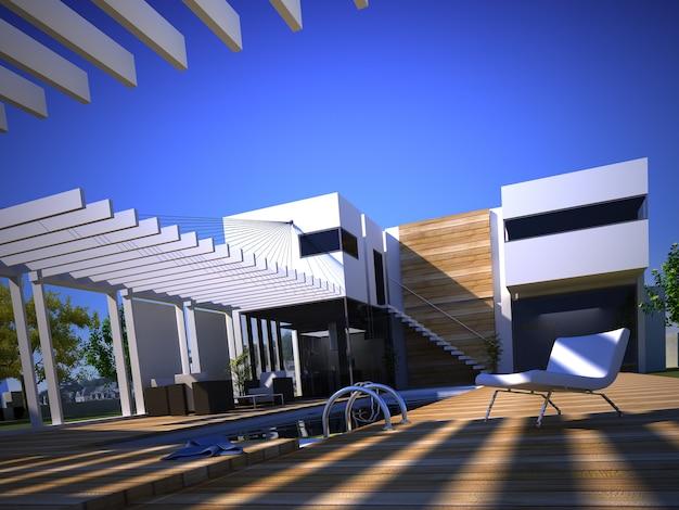 Rendering 3d di una casa di design con piscina moderna