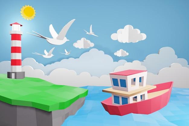 Progettazione di rendering 3d, stile di arte della carta di faro e barca nel mare sotto la luce del sole.