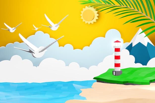 Progettazione di rendering 3d, stile di arte di carta di mare con spiaggia e faro sotto la luce del sole.