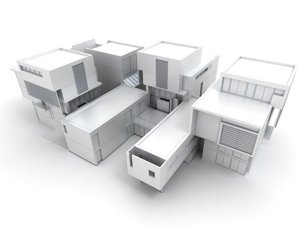 Rendering 3d di una casa di design in bianco