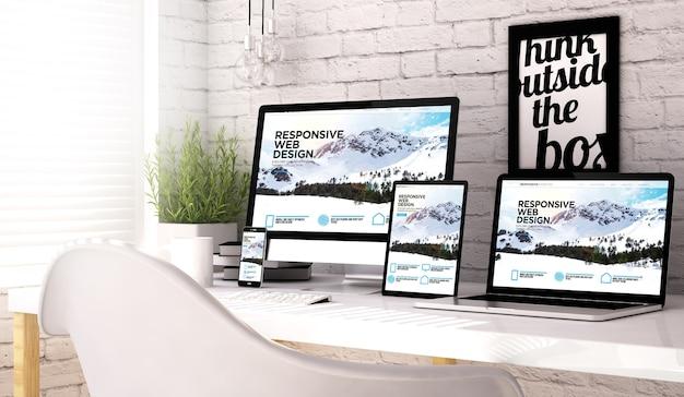 Rendering 3d della raccolta di dispositivi nell'area di lavoro con sito web reattivo sullo schermo.