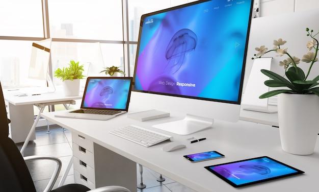 Dispositivi di rendering 3d su un ufficio moderno. sito web reattivo sullo schermo.