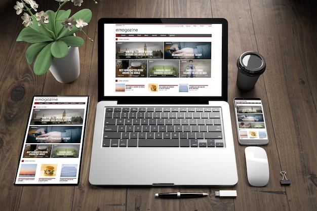 Rendering 3d di dispositivi sul pavimento di legno che mostra il sito web reattivo di e-magazine