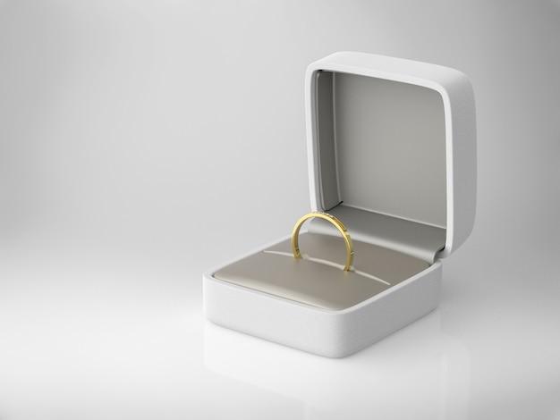 3d rendering anello di diamanti in scatola bianca su sfondo bianco