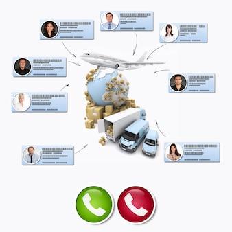 Rendering 3d di diversi contatti commerciali che effettuano una conference call in un contesto di distribuzione internazionale