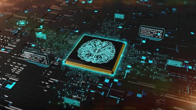 Rendering 3d digitale del chip del computer su sfondo del circuito
