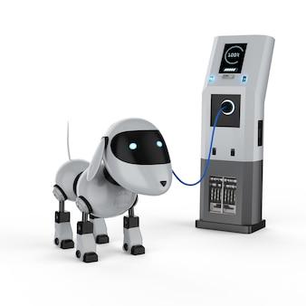 Caricamento del robot del cane di rendering 3d con stazione di ricarica elettrica