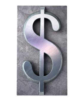 Rendering 3d del simbolo di valuta del dollaro in stampa dattiloscritta metallica
