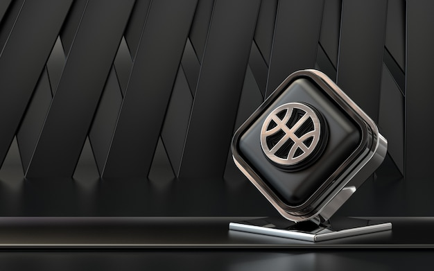3d rendering icona dribbling social media banner sfondo astratto scuro