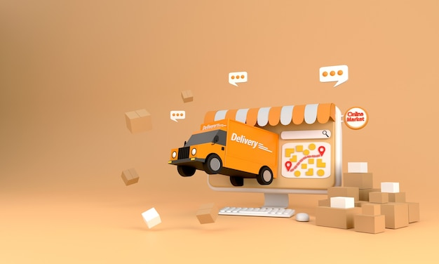 Rendering 3d. concetto di e-commerce, shopping online e servizio di consegna su applicazioni informatiche, trasporto ad alta velocità di consegna in camion,