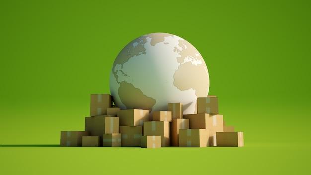 Rendering 3d della terra in bianco e struttura di cartone, circondata da scatole di cartone su una superficie colorata