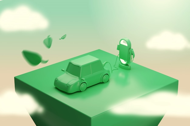 Spina del caricatore dell'automobile elettrica della rappresentazione 3d che cresce dalle piante. concetto di green energy station.