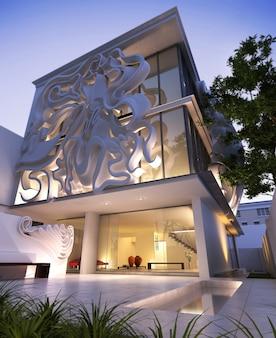 Rendering 3d di un elegante edificio contemporaneo, con una scultura originale nella facciata