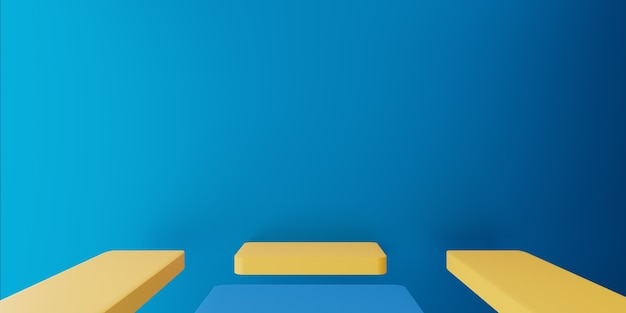 Rendering 3d di concetto minimo astratto giallo blu vuoto