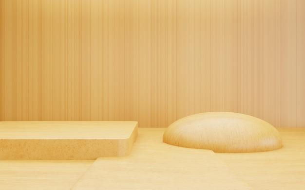 Rendering 3d di una scena di sfondo minimale in legno astratto marrone vuoto per la pubblicità