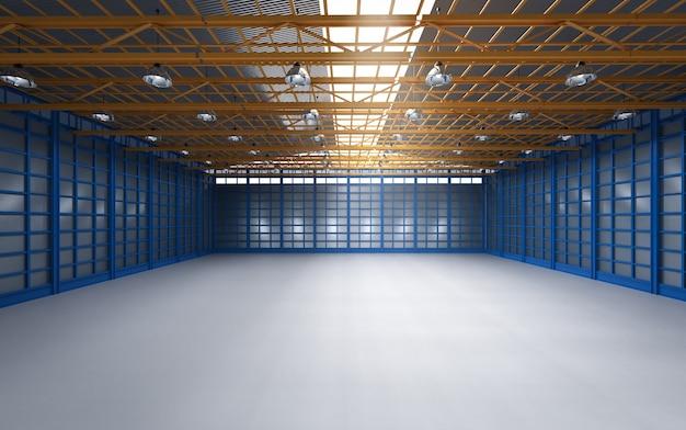 3d che rende l'interno di fabbrica vuoto con lampade a sospensione