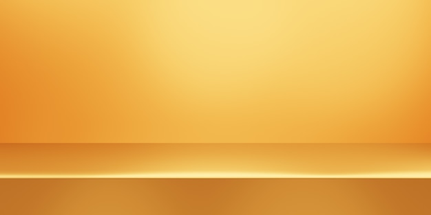 Rendering 3d di fondo minimo astratto oro vuoto. scena per il design pubblicitario