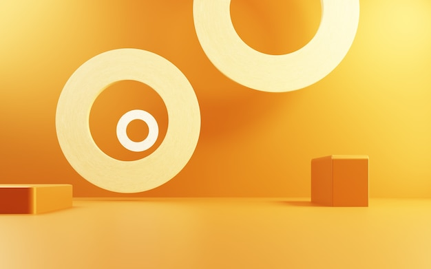 Rappresentazione 3d della pubblicità del fondo di concetto astratto dell'oro vuoto esposizione del prodotto