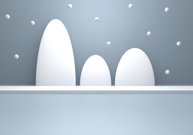 Rendering 3d del concetto di inverno minimo astratto grigio argento vuoto