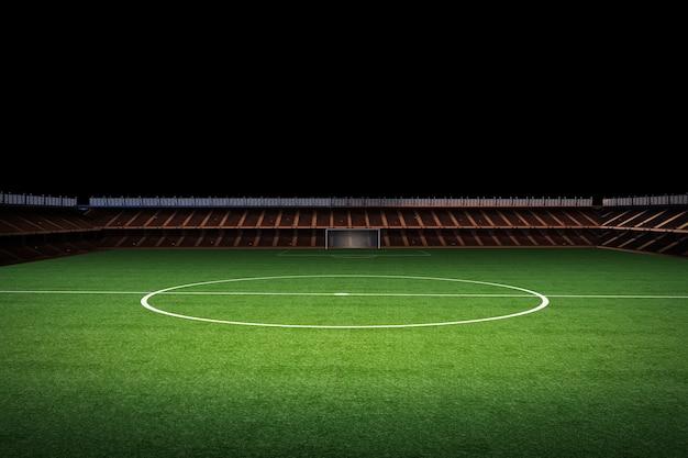 3d rendering campo verde vuoto con stadium