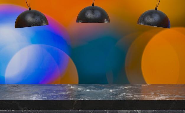 Rendering 3d, tavolo in marmo vuoto per la visualizzazione di prodotti di fronte al ristorante, bar notturno o night club astratto sfocatura sfondo, spazio vuoto copia per festa, promozione banner social media, poster
