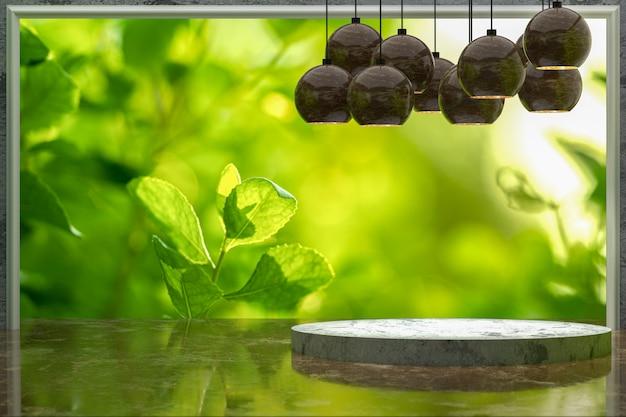 Rendering 3d, tavolo in marmo vuoto per la visualizzazione dei prodotti nel parco giardino verde