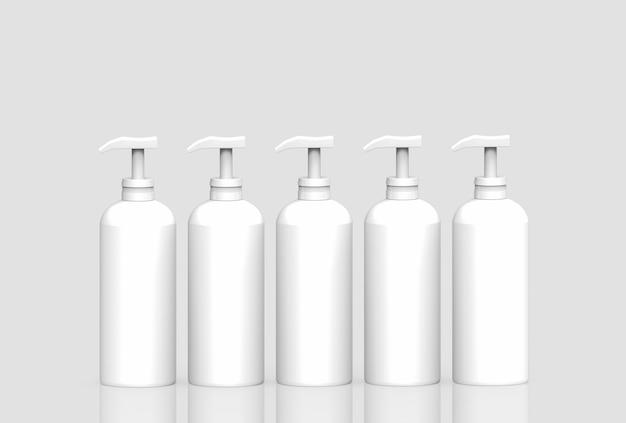 Rendering 3d. svuotare la riga della bottiglia del liquido di plastica bianca senza etichetta