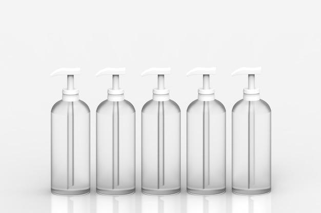 Rendering 3d. svuotare la fila di bottiglie di vetro liquido trasparente bianco senza etichetta