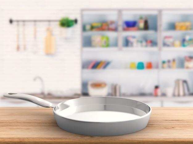 3d che rende la padella vuota con lo sfondo della cucina