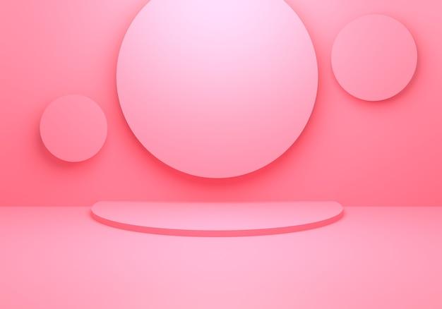 Rendering 3d di fondo geometrico di concetto minimo astratto rosa vuoto.