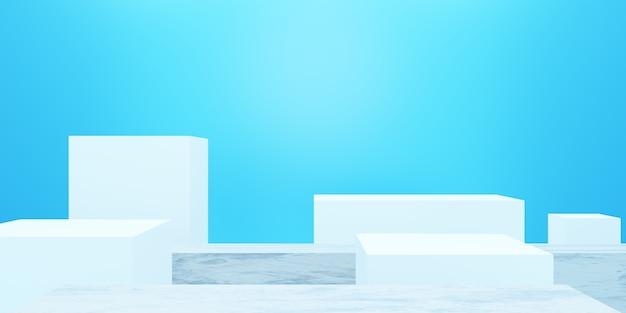 Rendering 3d di podio vuoto minimo sfondo blu scena per annunci cosmetici di design pubblicitario