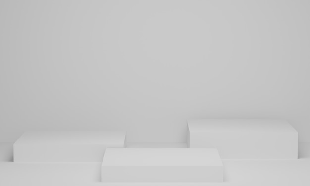 Rendering 3d. esposizione vuota del piedistallo o del podio su priorità bassa bianca. sfondo in piedi sullo scaffale del prodotto in bianco. scena minimale astratta con geometrica.